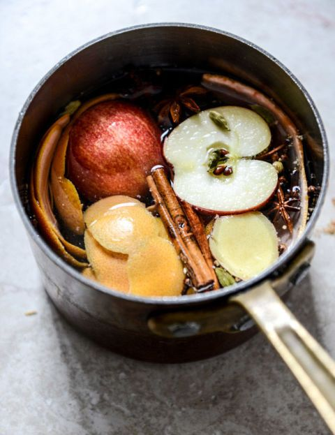 A bounty of aromatics (like apple slices, cinnamon sticks, and cloves) waft through your home entire home when you warm them in water on the stove.