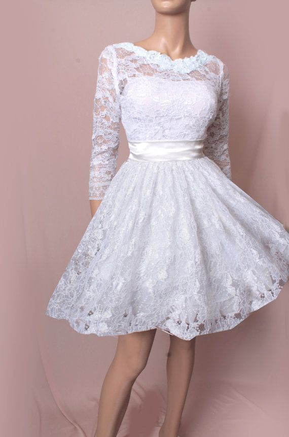 Hey, I found this really awesome Etsy listing at http://www.etsy.com/listing/170374115/wedding-short-lace-dress-34-sleeves