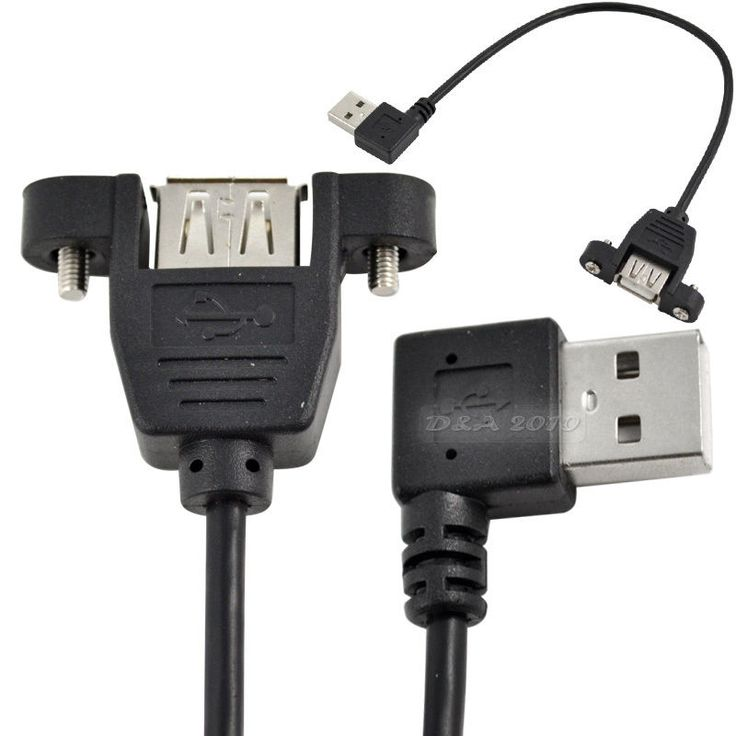 25cm USB 2.0 A Female Panel Mount to USB 2.0 A Male Left Angled Extension Cable