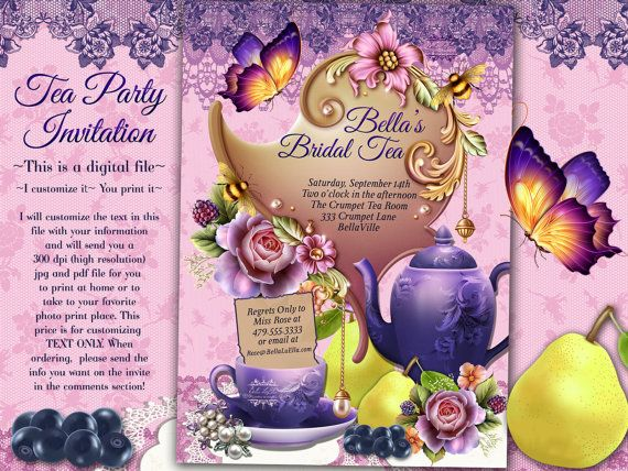 Tea Party Invitation, Bridal Tea Party, Garden Tea Party, Party Invitations, Tea Party