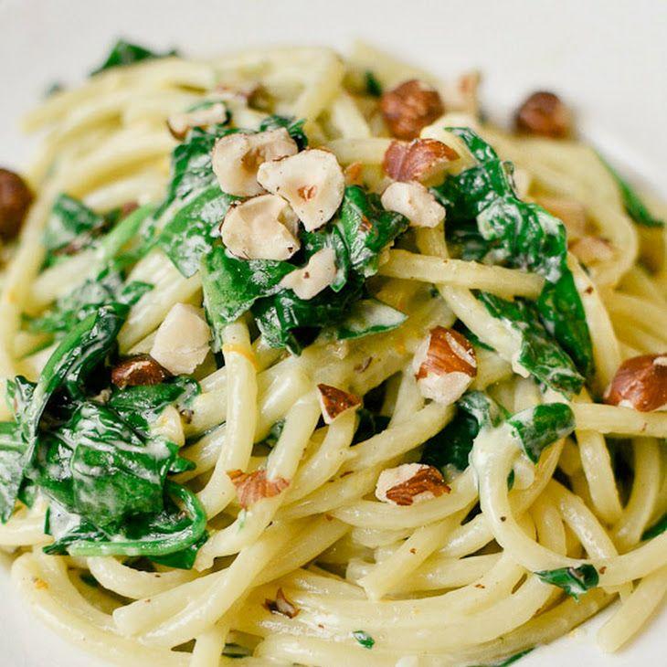 spaghetti with mascarpone, meyer lemon, spinach, and hazelnuts. yum!!