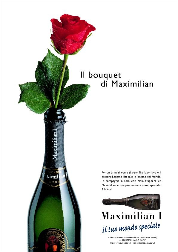 advertising for Maximilian I° sparkling wine