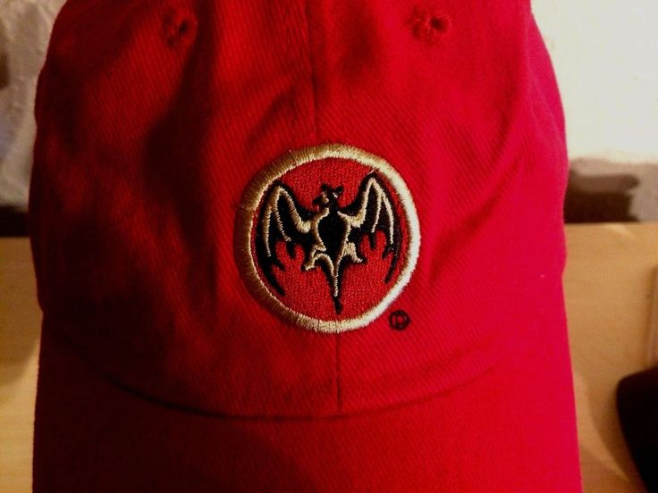 Bacardi Rum Bat Device Baseball Hat Red Black Gold Embroidery Adjustable Back #BACARD #BaseballCap