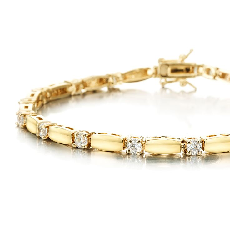18ct Yellow Gold Layered Fine Tennis Bracelet made with Swarovski® Crystals (7Inch) | Allure Gold