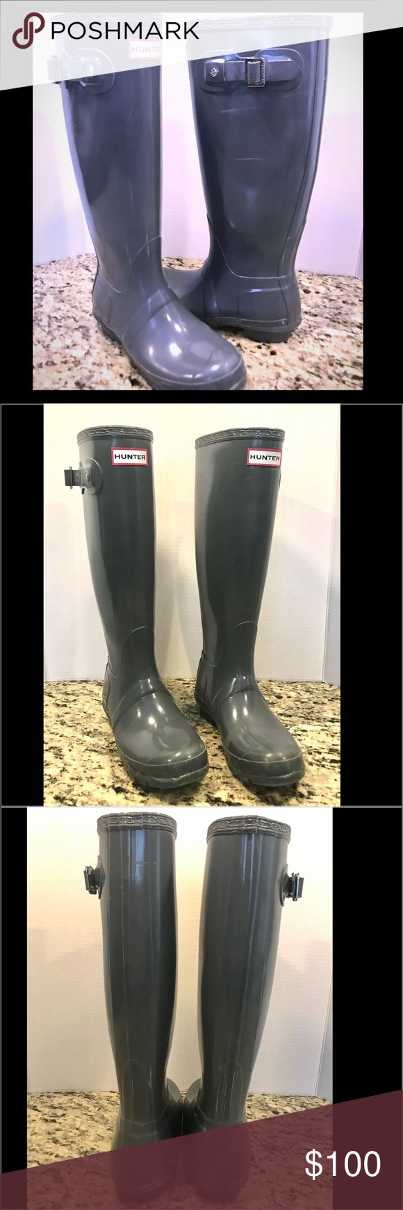 "Tall Grey Hunter Boots Tall Grey Hunter Boots.  Original Gloss Tall 23616 grey.  16"" tall. 14.5"" calf circumference.   EUC.  Minor scuffing, but not bad.  Please feel free to ask any questions!   Item #1320 Hunter Boots Shoes Winter & Rain Boots"