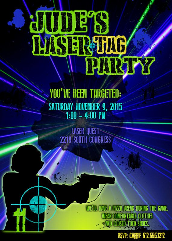 Printable customized Laser Tag invitation laser by ...