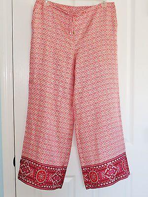 Talbots Silk Palazzo Pants Size 14 Beach Lounge Moroccan Print Orange Red