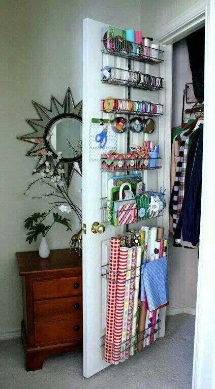 Craft storage idea for closet door in extra bedroom