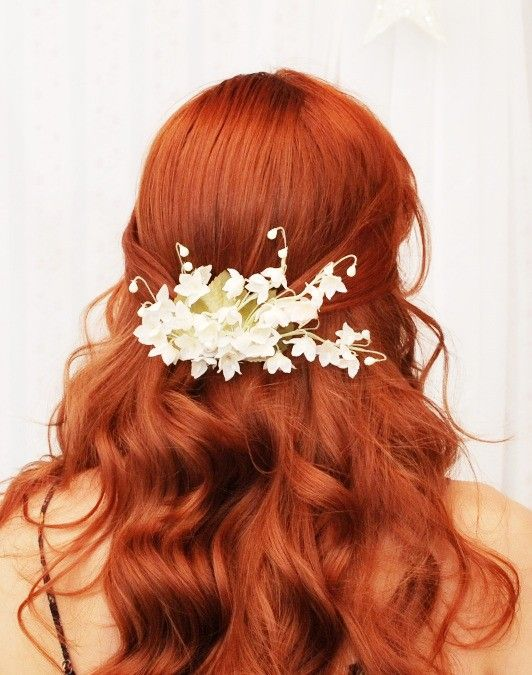 Bridal hair clip, white floral accessory, lily of the valley clip, bridal accessory - in White. $35.00, via Etsy.