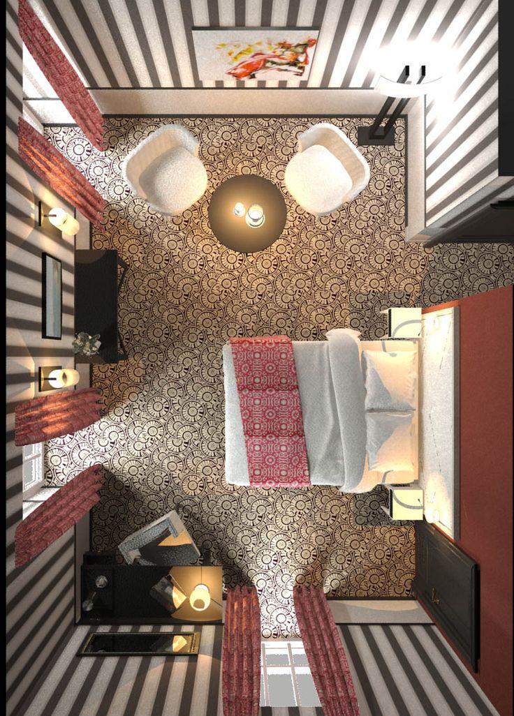 3DS Max render - www.carolinetissier.com - Caroline Tissier Intérieurs - hôtel room
