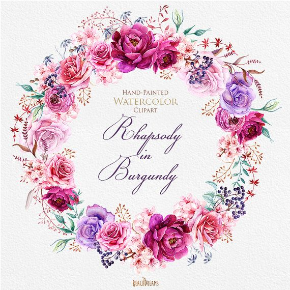 This set of high quality hand painted watercolor wreath and 5 bouquets. Flowers - Roses, Ranunculus, Peonies and herbs Perfect graphic for wedding invitations, greeting cards, photos, posters, quotes and more.   Item details:  6 PNG files. (300 dpi, RGB, transparent background) Wreath size (larger side) aprox.: 15 inch Bouquets size (larger side) aprox.: 14x8 inch - 9x8 inch   Individual elements: https://www.etsy.com/ru/listing/262453858/watercolor-burgundy-flor...
