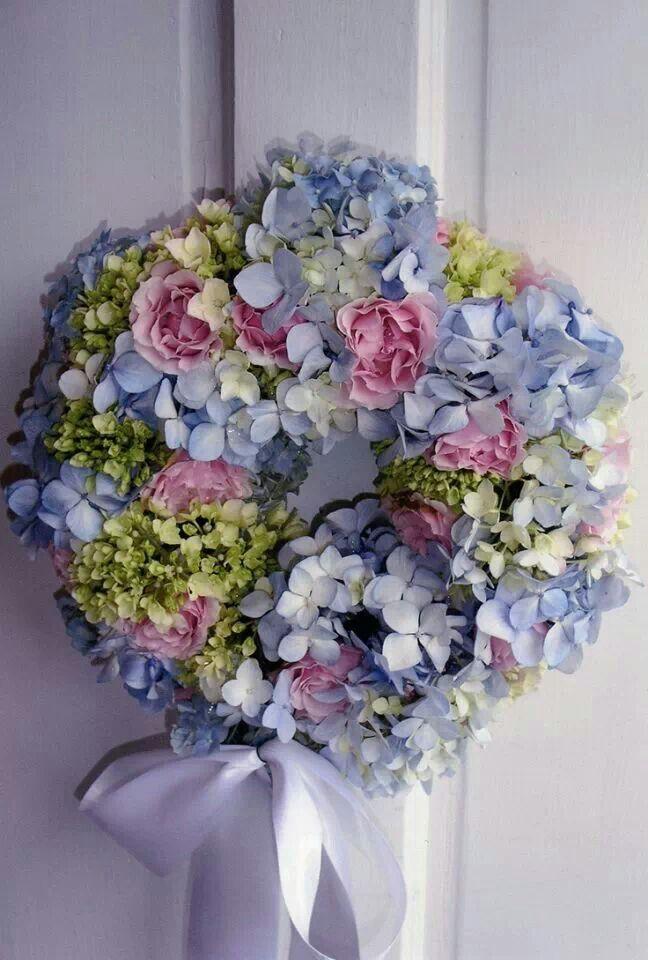 Hydrangeas and Roses wreath