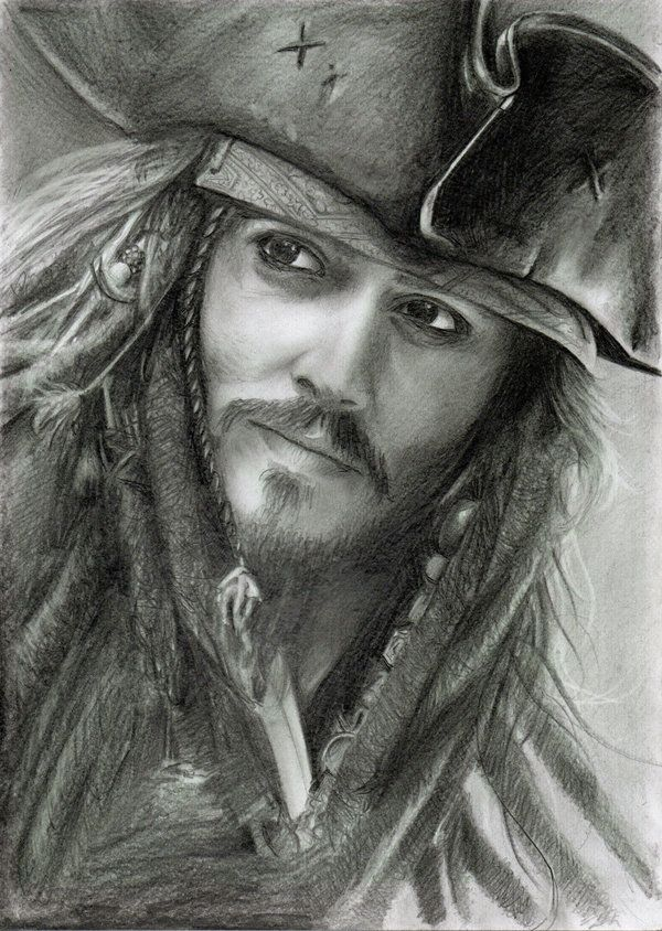 *CAPTAIN JACK SPARROW ~ Pirates of the Caribbean....Pencil drawing...