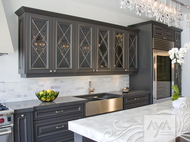 Grey cabinets, white background, chandy