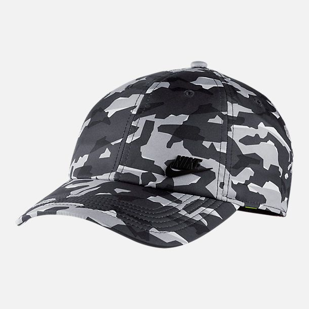 768427f7efca2 Front view of Unisex Nike Sportswear Heritage86 Metal Logo Adjustable Hat  in Grey Black Camo Print