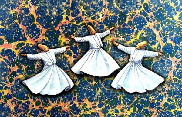 Ebru art with whirling dervishes & SEVEN ADVICE OF MEVLANA In generosity and helping others be like a river In compassion and grace be like sun. In concealing others' faults be like night In anger and fury be like dead In modesty and humility be like earth In tolerance be like a sea Either exist as you as you are or be as you look