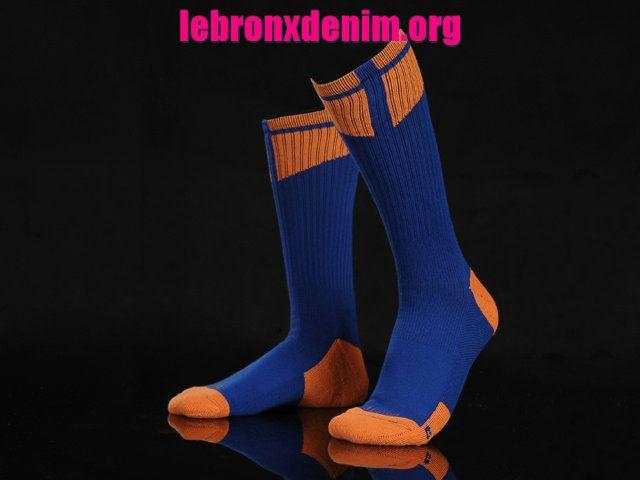 Royal Blue Orange Jordan AJ Dri-Fit Crew Sock Mens [Lebron X Denim 260]