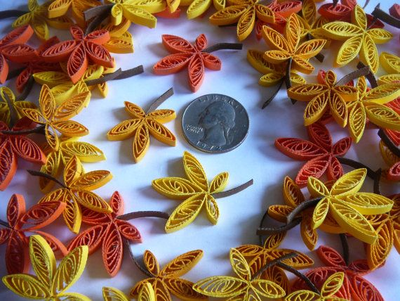 12ct Paper Quilled Fall Leaves Scrapbook Card Making Embellishments Wedding Table Party Decorations