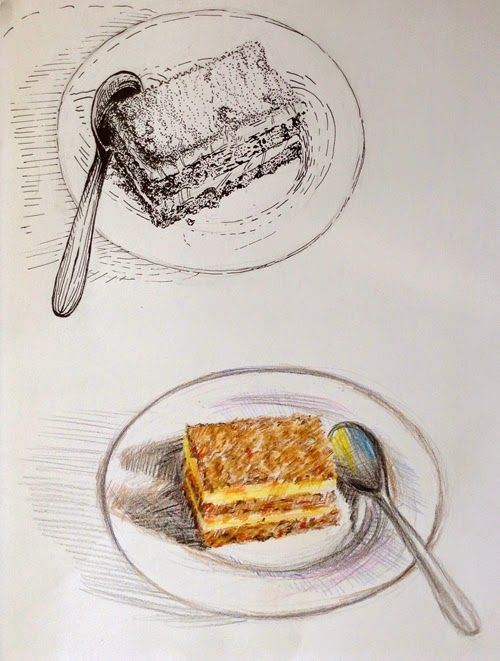 Drawing flash mob - pastry. Cakes
