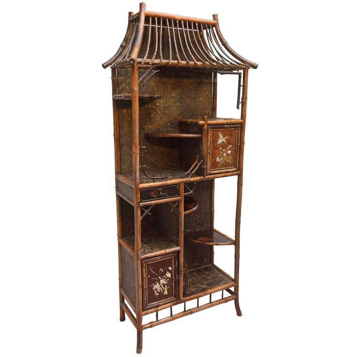 Fine 19th Century Chinoiserie Pagoda Form Bamboo Display Cabinet   From a unique collection of antique and modern vitrines at https://www.1stdibs.com/furniture/storage-case-pieces/vitrines/