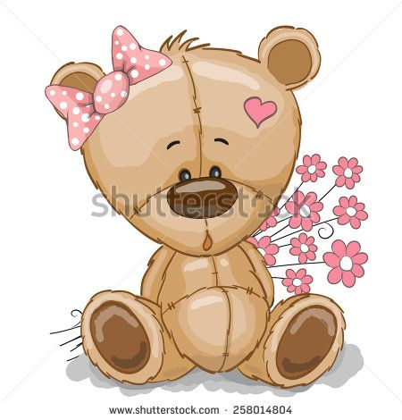 Teddy Bear girl with pink flowers isolated on white - stock vector