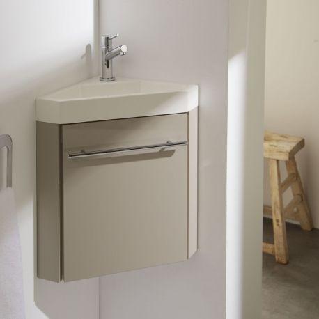 Ensemble meuble d'angle et lave-main coloris gris souris à installer dans une petite salle de bain ou de petits sanitaires.