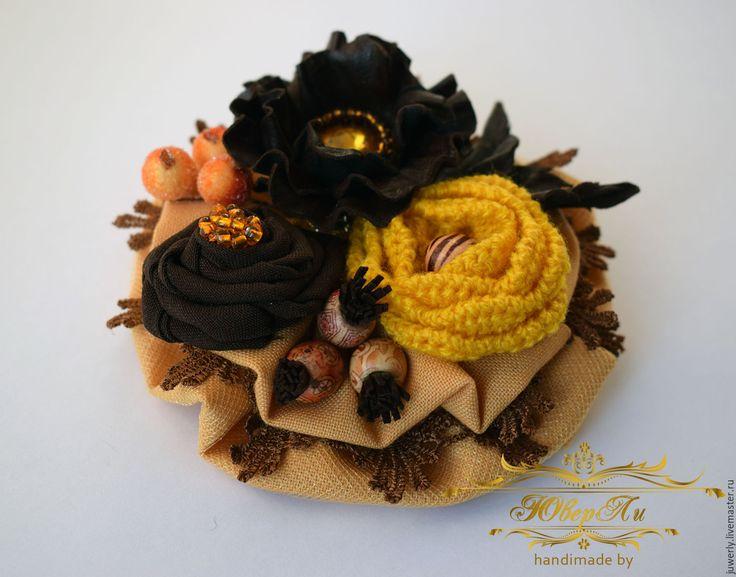 """Купить Текстильная брошь """"Солнечная осень"""" - желтый, коричневый, Украшение ручной работы, украшение из кожи"""