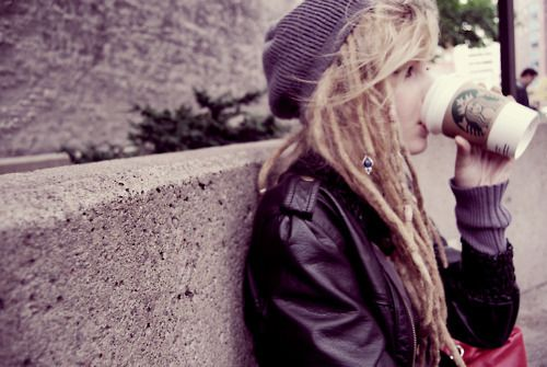 Everything about this. <3 white girls with dreads.. heh.. starbucks, leather jacket, sweater, beanie