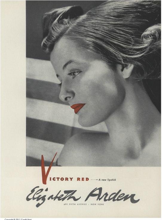 Victory Red - Elizabeth Arden, 1941Red Lipsticks, Arden Create, Advert Red, Vintage Arden, Ads Art, Ardenr Lips, Elizabeth Arden, Victory Red, Beautiful Vintage