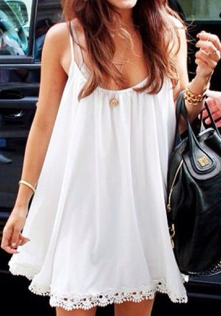 Crochet Hem Dress - White