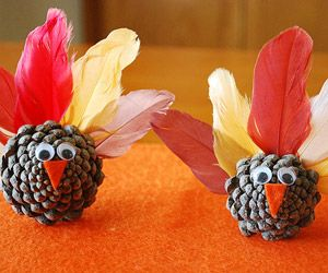 Turkey Crafts for Kids: Gone Fowl - pine cone turkeys - maybe name tags for table