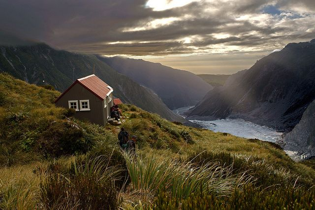 Evening at Chancellor hut, above the middle ice fall of the Fox Glacier, New Zealand (by go wild - NZ outside).