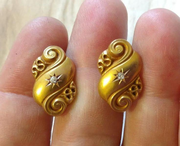 Diamond Cufflinks 14 Kt Gold, European Cut Diamonds, Antique Repousse'  A+ Cond  | eBay
