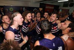 SUN-1401242 © WestPix AFL Round 3 - Fremantle Dockers vs Western Bulldogs, at Subiaco Oval, Perth. Pictured - Fremantle players sing the song after the win.   Picture: Daniel Wilkins
