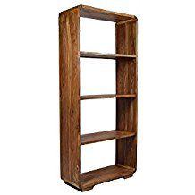 Bücherregal Authentic Retro Goa 190x85 cm Massivholz Sheesham Regal Hochregal Wohnzimmerregal 60er Jahre Mid Century Design