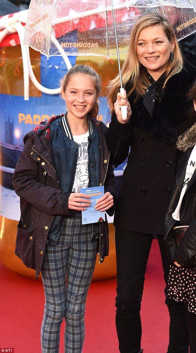 Model mum: Kate Moss hit the red carpet of the Paddington premiere in London on Sunday alongside daughter Lila Grace