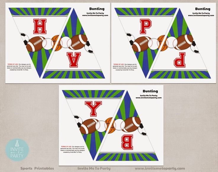 Sports Party Happy Birthday Bunting Invite Me To Party: Sports Party