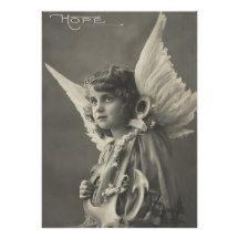 Vintage Girl Angel Symbol of Hope 1900s Anchor Poster