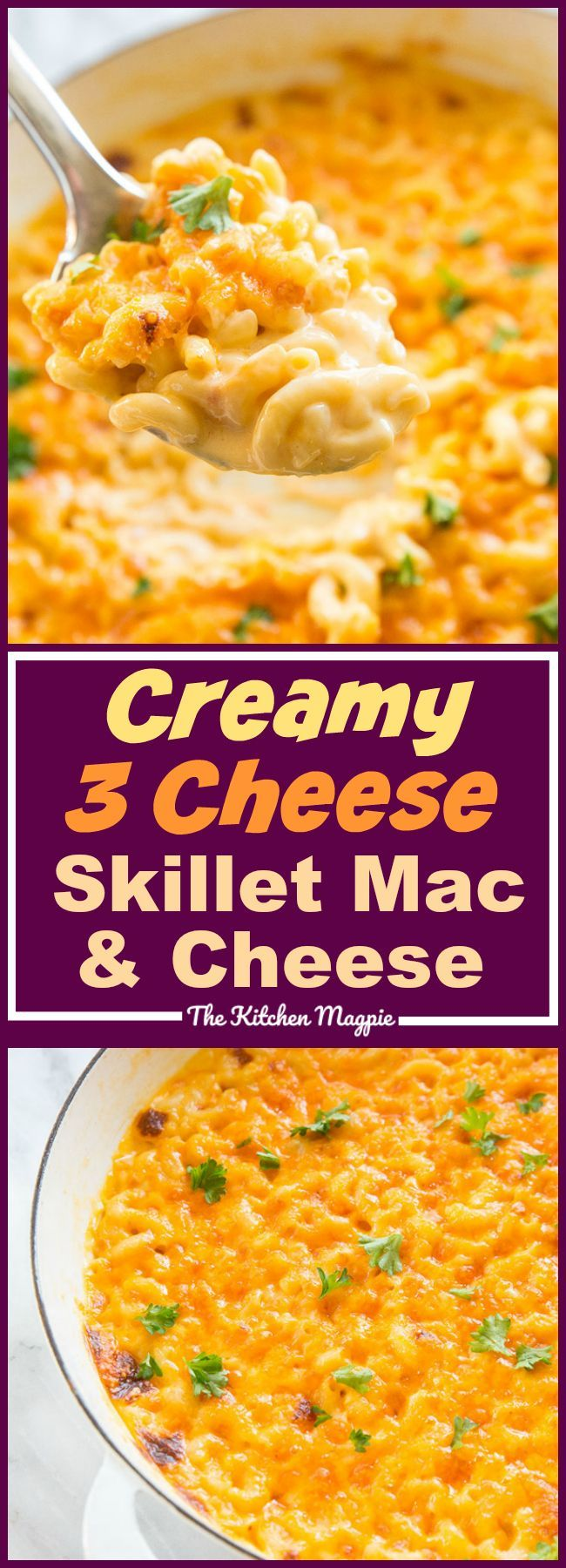This Creamy Three Cheese Skillet Mac and Cheese is the most decadent mac and cheese I have ever eaten! #recipe #cheese #macandcheese #familyfood