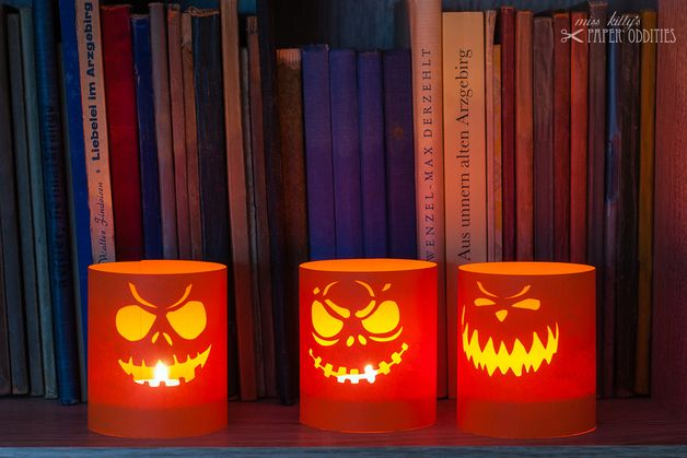 Halloween Decorations – Construction paper »Halloween lantern« – a unique product by misskittys on DaWanda