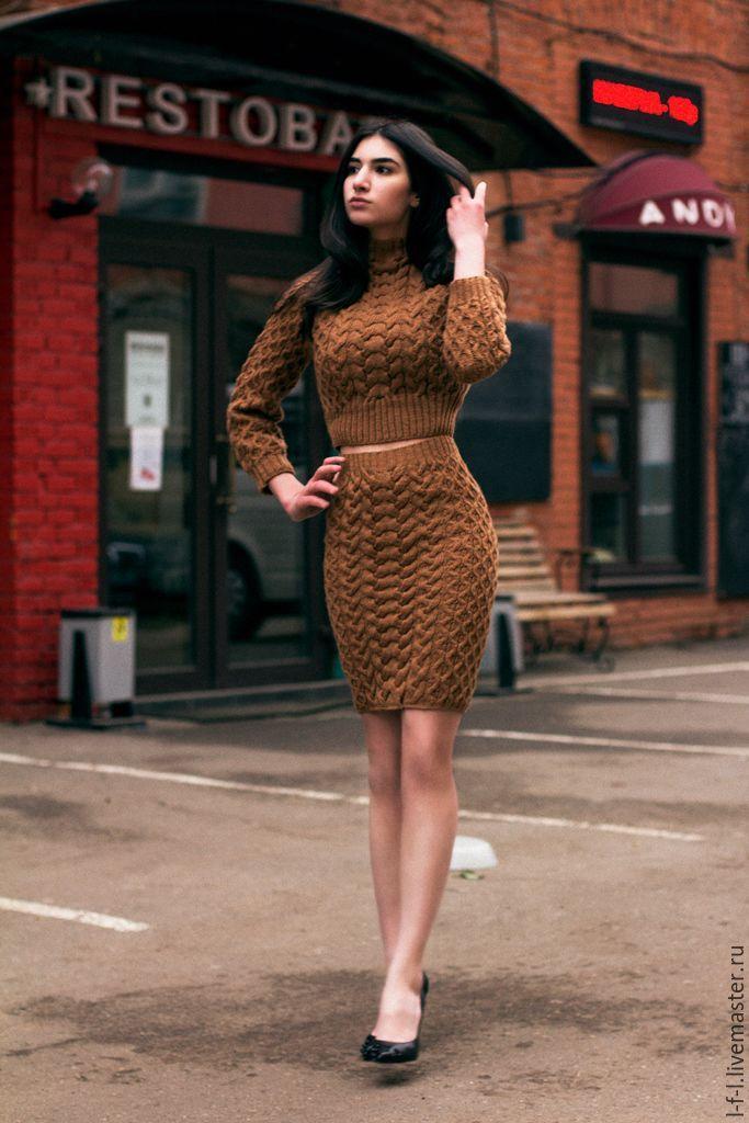 """Купить Вязаный костюм """"Карамелька"""" - коричневый, однотонный, костюм, вязаный костюм, деловой костюм"""