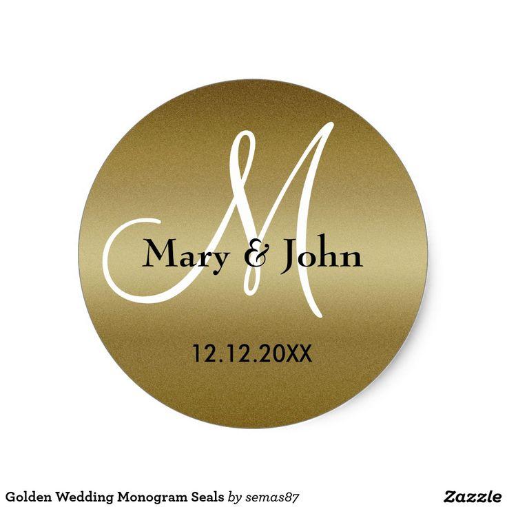 monogram wedding envelope seals sticker%0A Golden Wedding Monogram Seals
