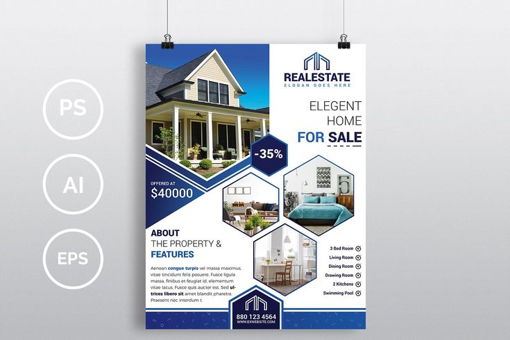 Ad: 10 Real Estate Flyers Bundle 90% OFF by Imagine Design Studio on Creative Ma…
