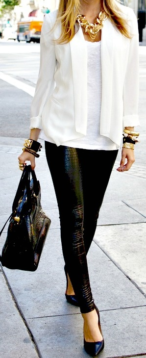 Black and White : black leather skinnies, purse and heels with white blazer and top. Not to forget the gold necklace!