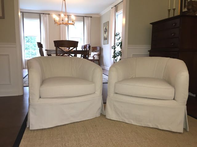 Barrel Chairs With Drop Cloth Slipcovers In 2019