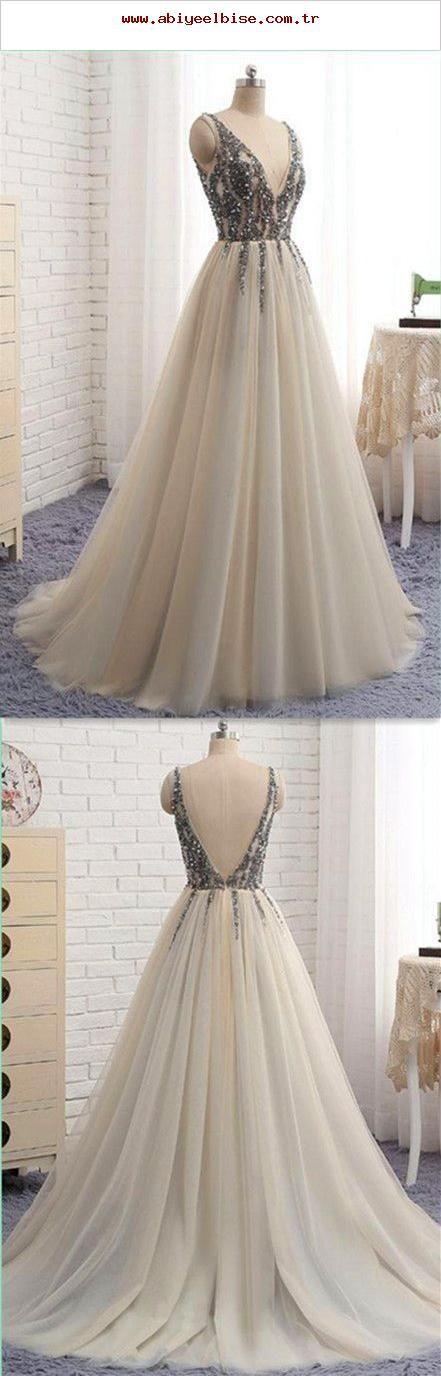 V-Ausschnitt Sweet 16 Party Prom Dress, Lange Ballkleider, Ballkleider, Abendkleid, …