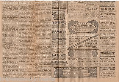 FRANK JAMES WILD WEST OUTLAW DIES ANTIQUE NEWSPAPER PAGE ACCOUNT WITH ADS 1915
