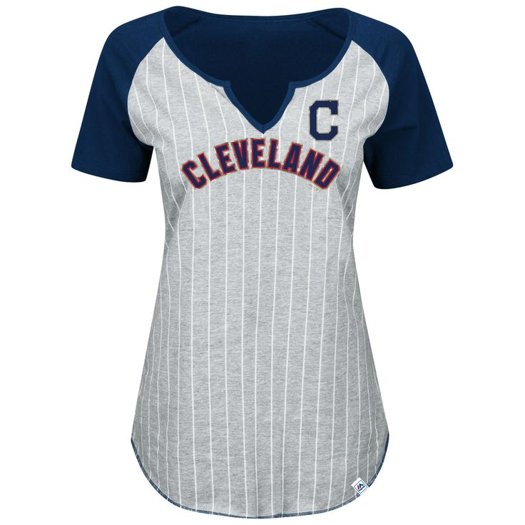 Cleveland Indians Majestic Women's Plus Size From The Stretch Pinstripe V-Notch T-Shirt - Gray/Navy