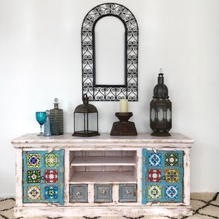 Boho TV Cabinet or Sideboard: White