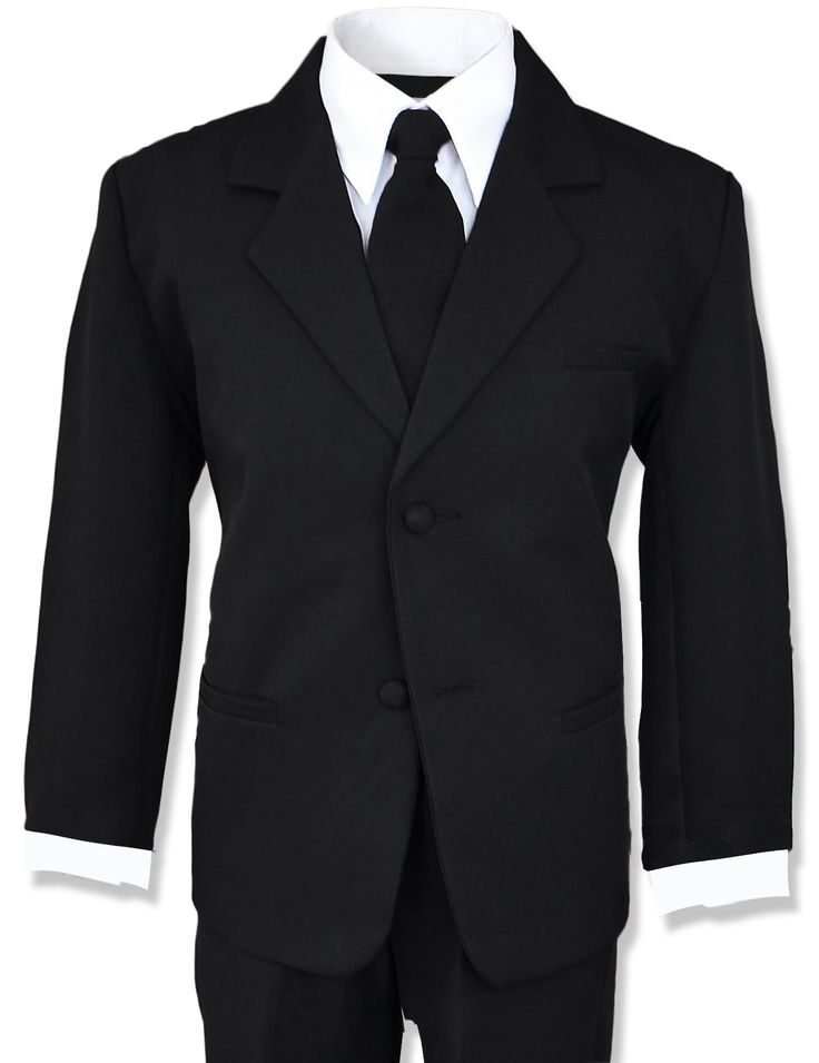 Little Boys Black Suit Complete Outfit with Tie (6, Black). Boys Suits Dresswear Complete Set (Suit Jacket, Vest, White Dress Shirt, dress pants). Made of 100% Polyester. All pants sizes come with an elastic waistband in the back so it can expand to a larger waist size. Size 2T-4T only comes with an elastic waistband. Size 5-7 has a button in the front with zippers.